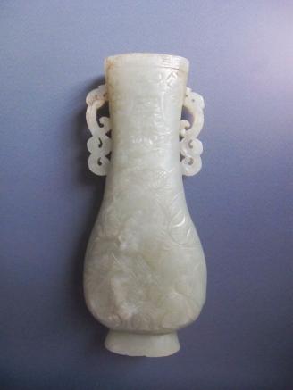 青白玉雕花卉灵芝寿字纹螭龙双耳瓶